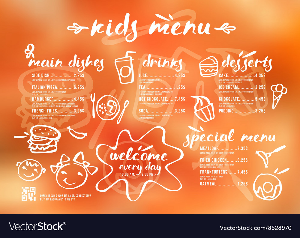 Kids menu template with lettering and badges