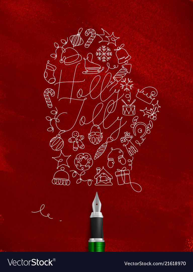 Pen line drawing christmas tree toy glove red