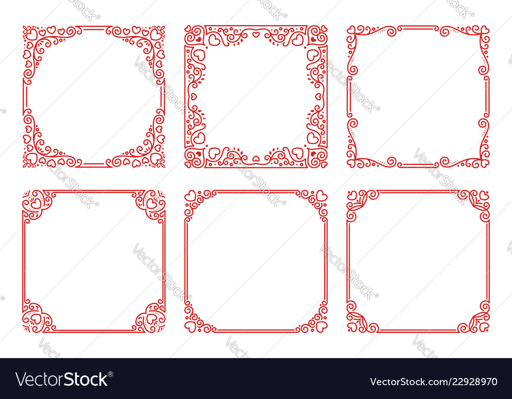 Set of red square frames in linear art deco