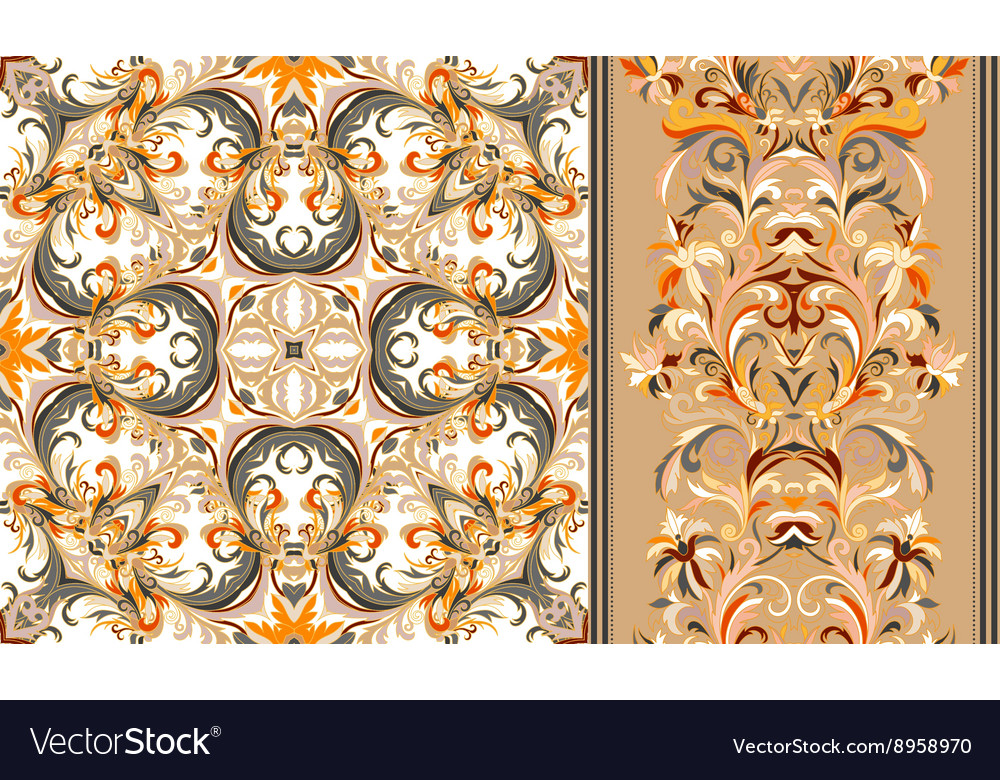 Set of seamless floral pattern and border for