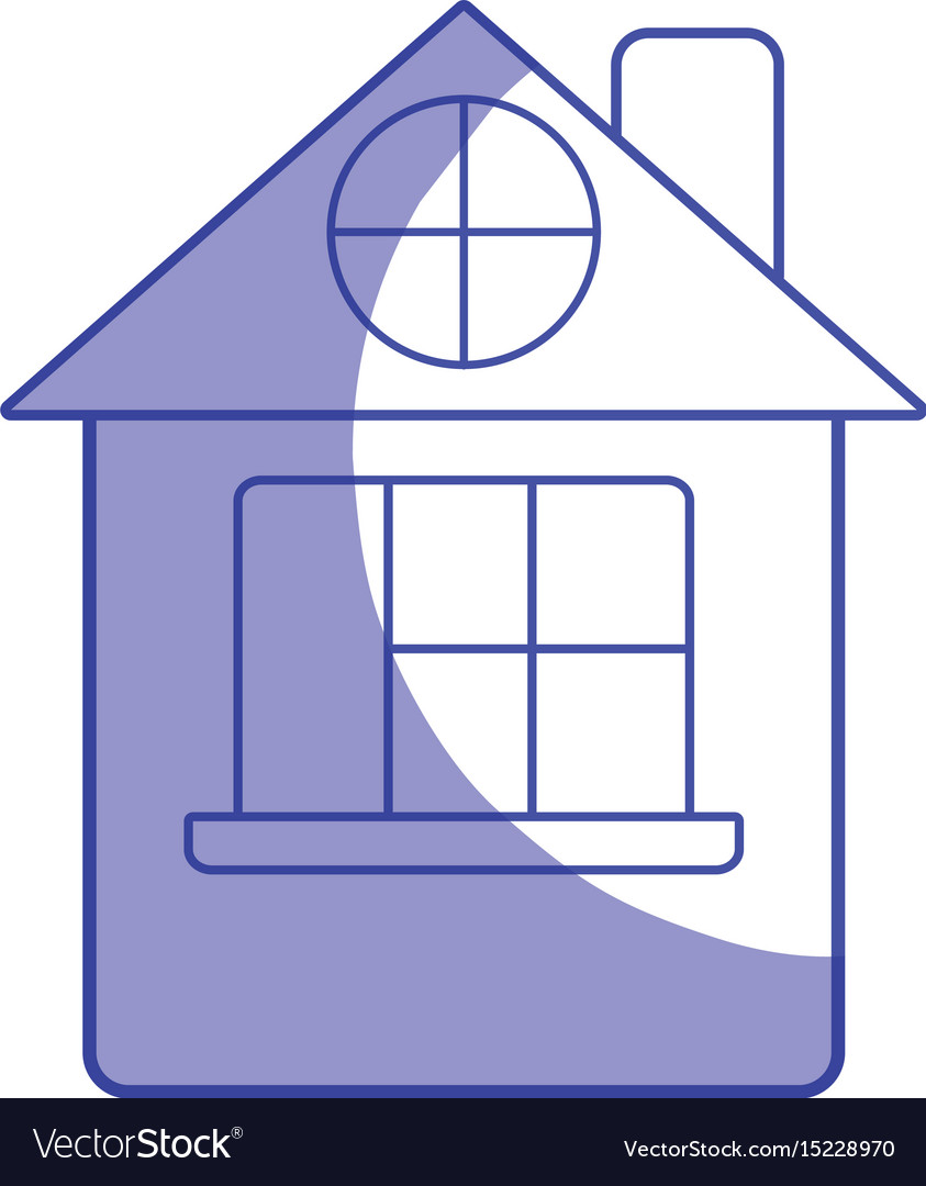 Silhouette house with roof and window vector image