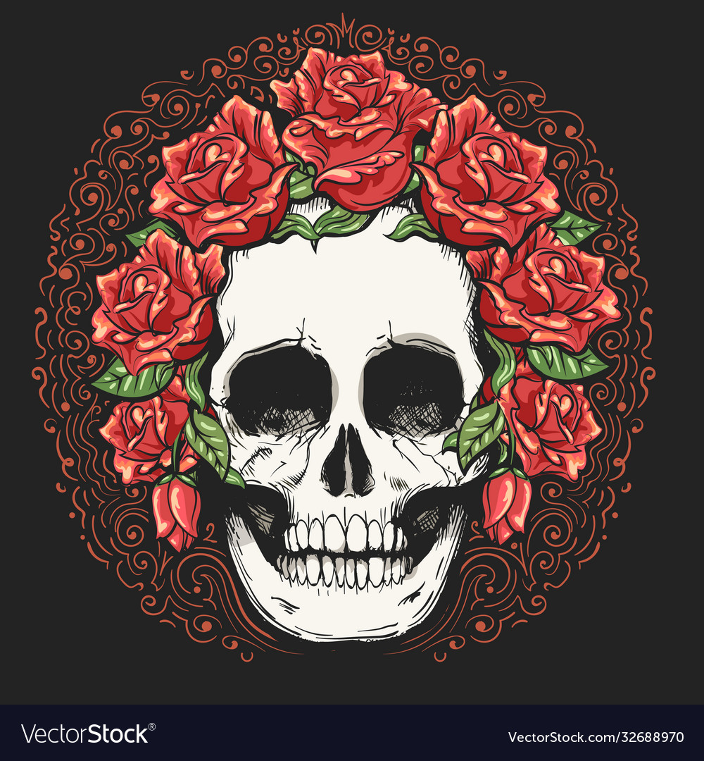 Skull in wreath rose flowers tattoo
