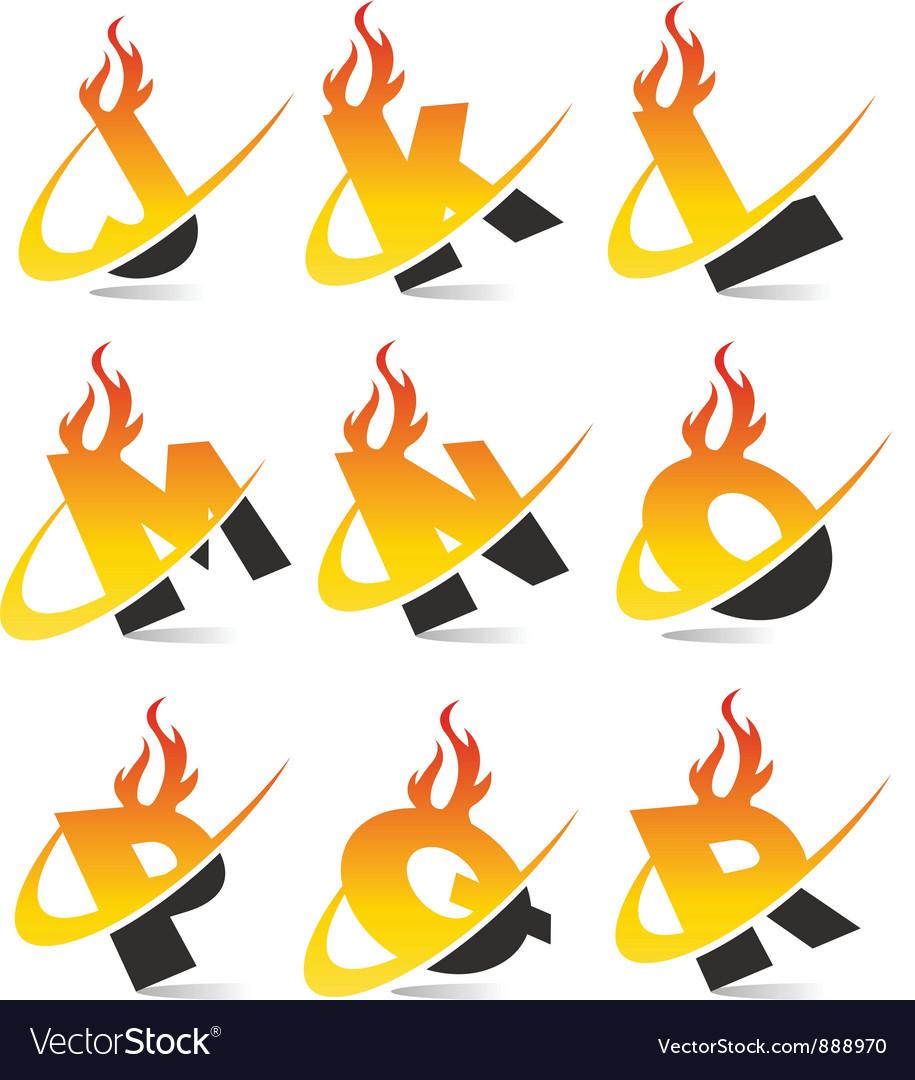 Swoosh Flame Alphabet Logo Set 2