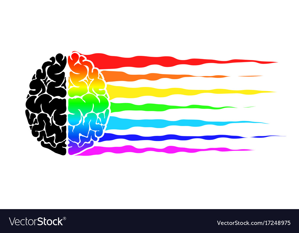 Abstract logo with the human brain as a flag of vector image