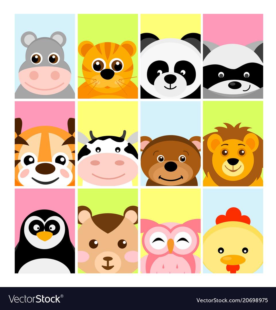 Adorable cute baby animals vector image