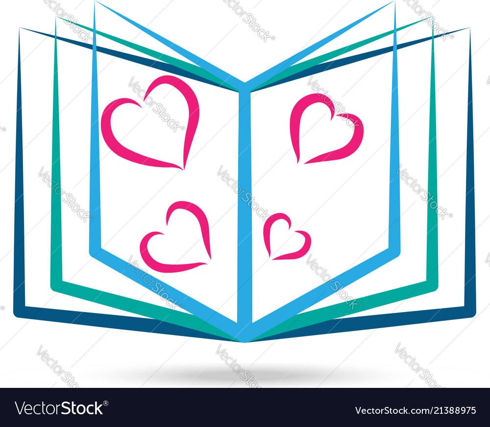 Book reading with hearts icon