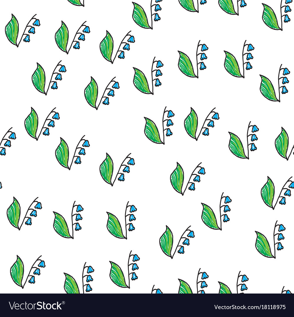 Lily of the valley seamless pattern vector image