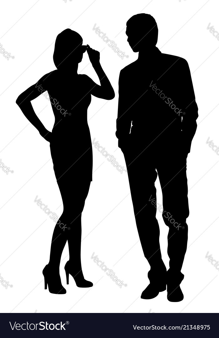 Man and woman look at each other silhouette