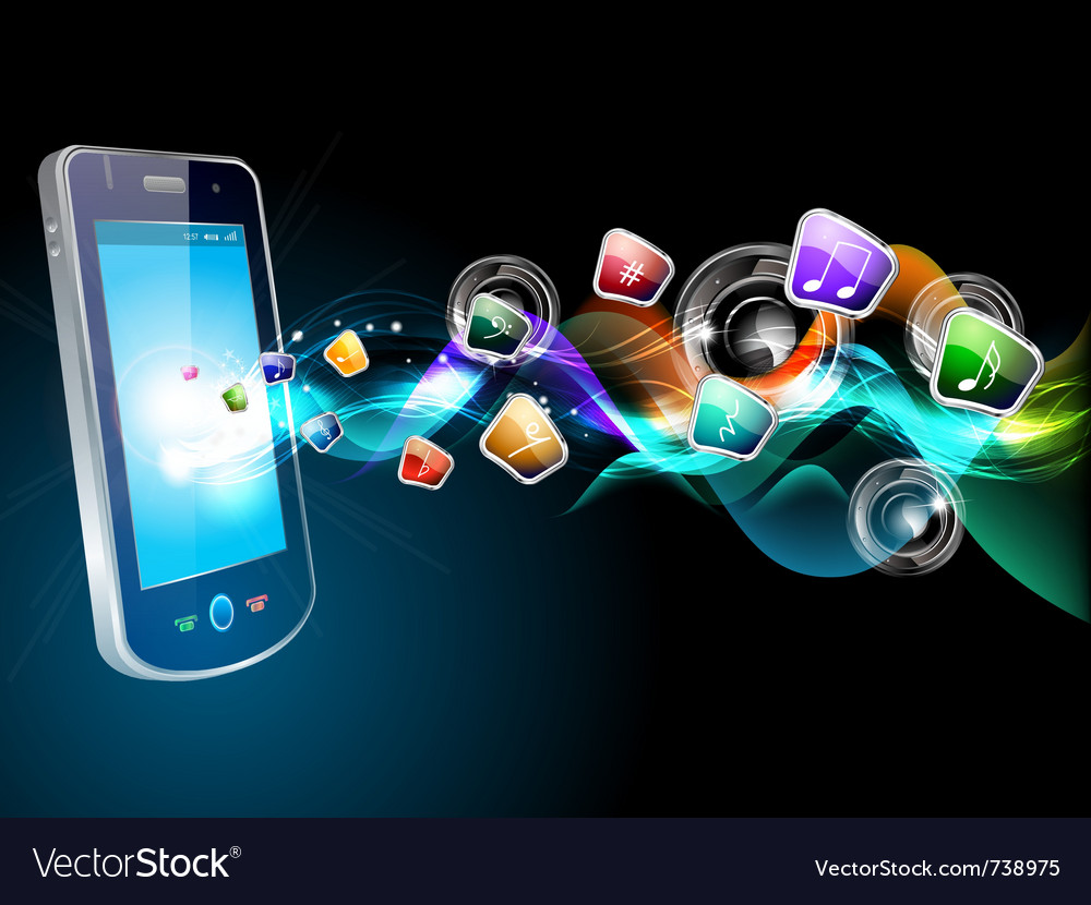 Mobile and music icons vector image
