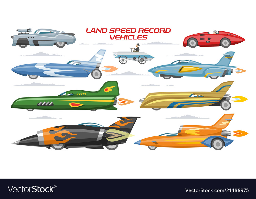record speed car landspeed automobile and vector image