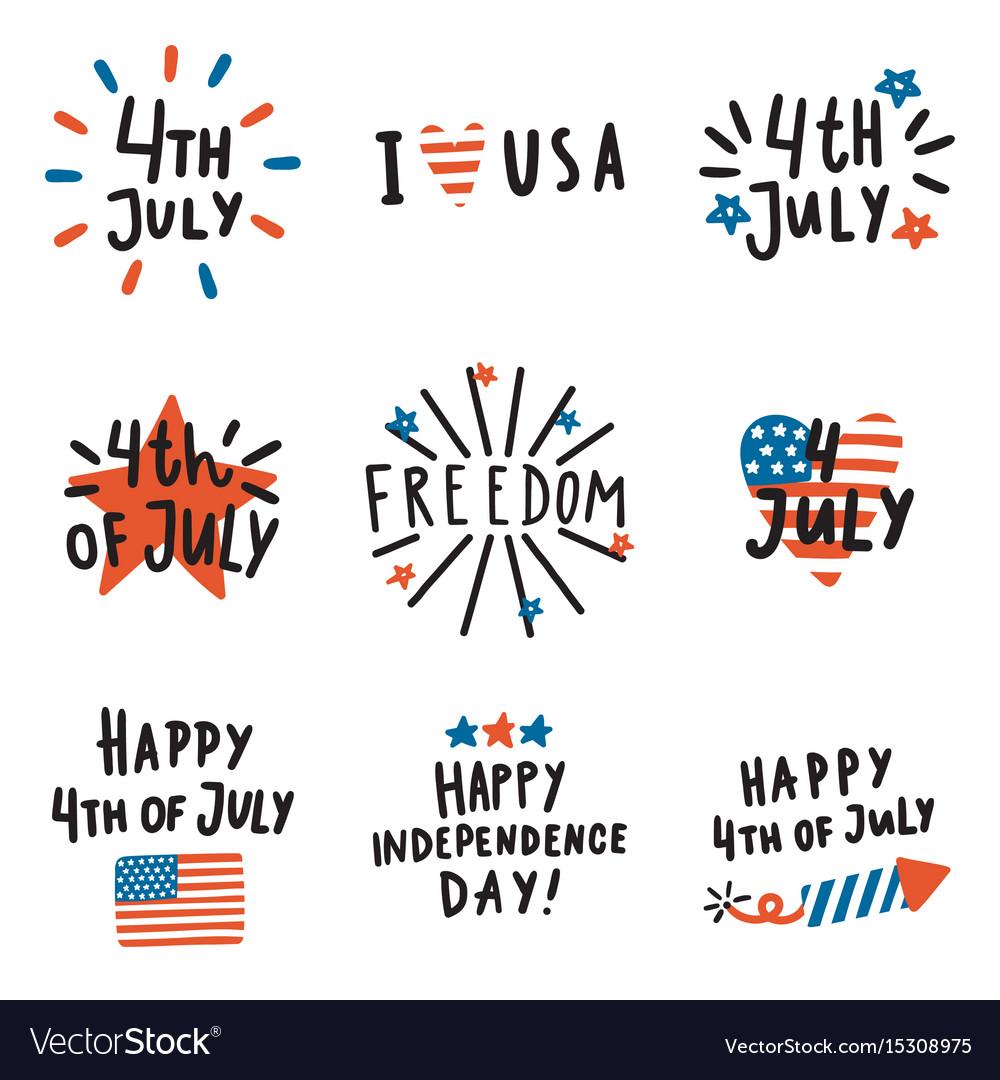 Set of fourth july badges