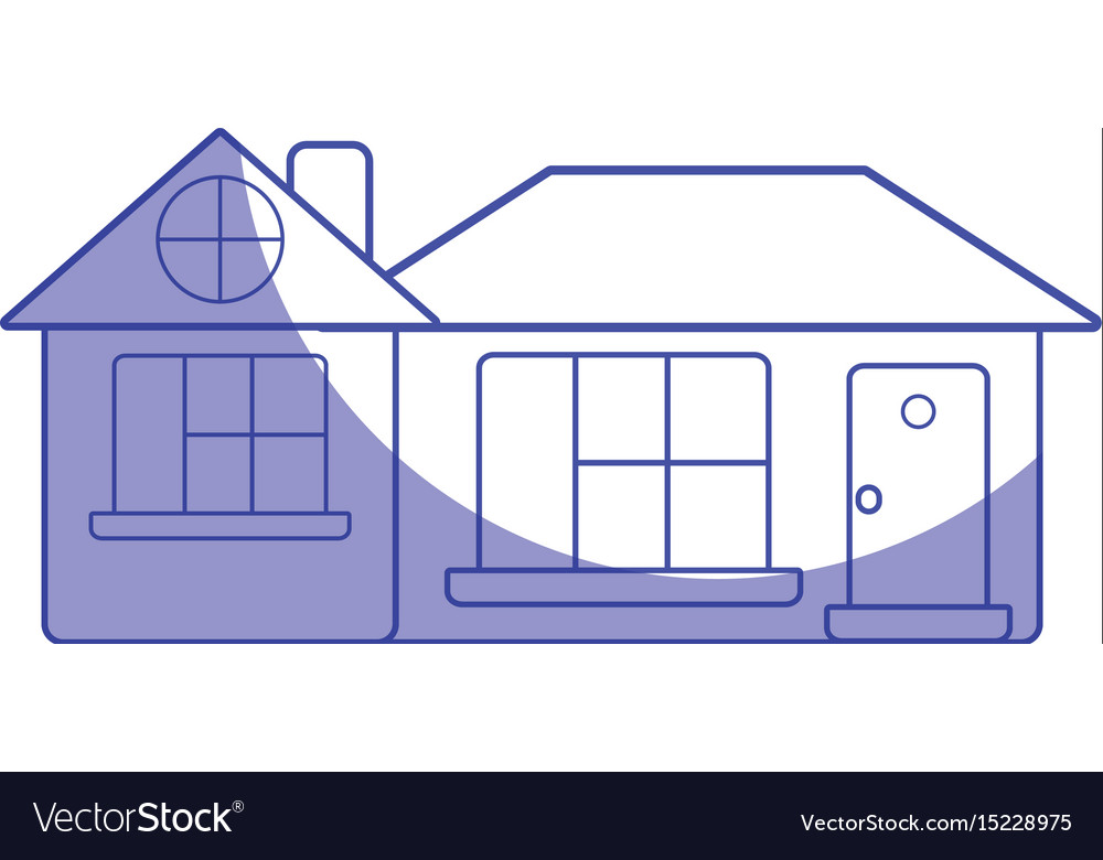 Silhouette big house with roof and windows with