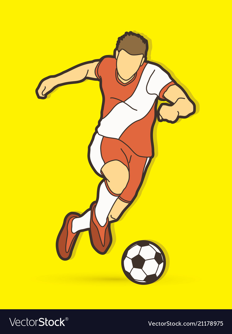 Soccer player shooting a ball action graphic
