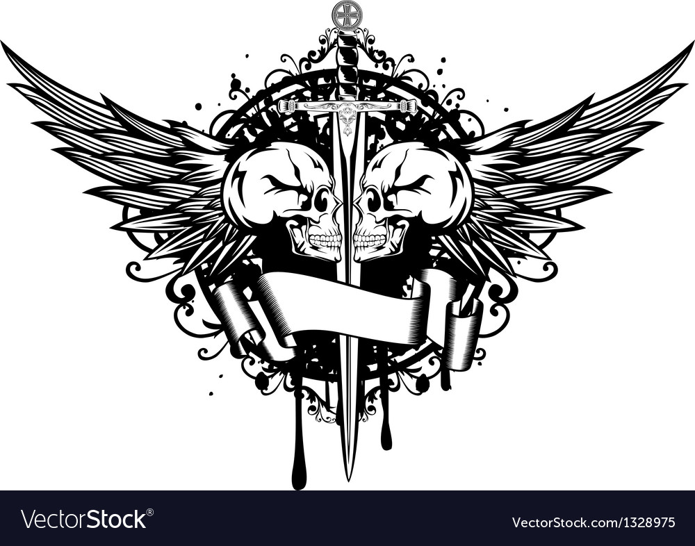 Two skulls wings and sword