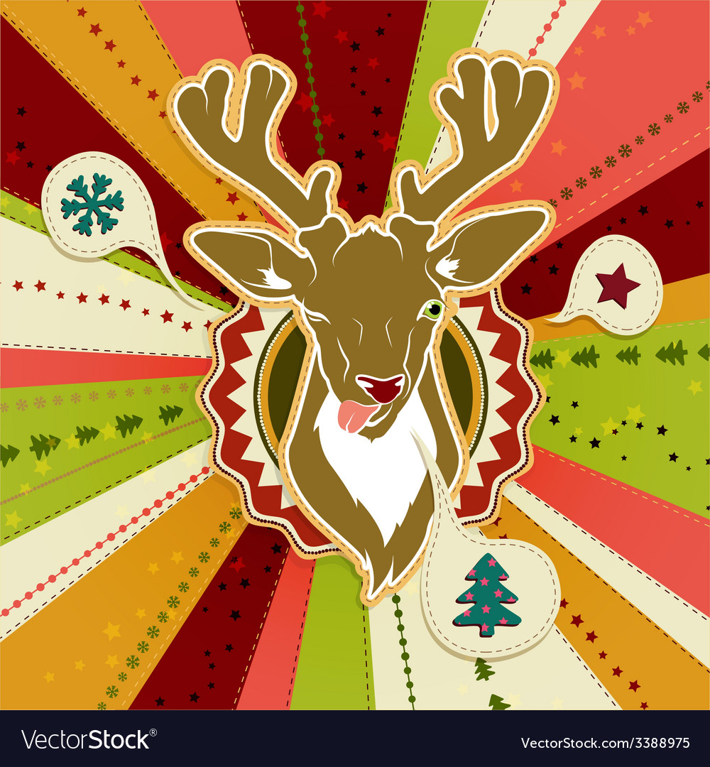 Vintage Christmas card with Deer showing his