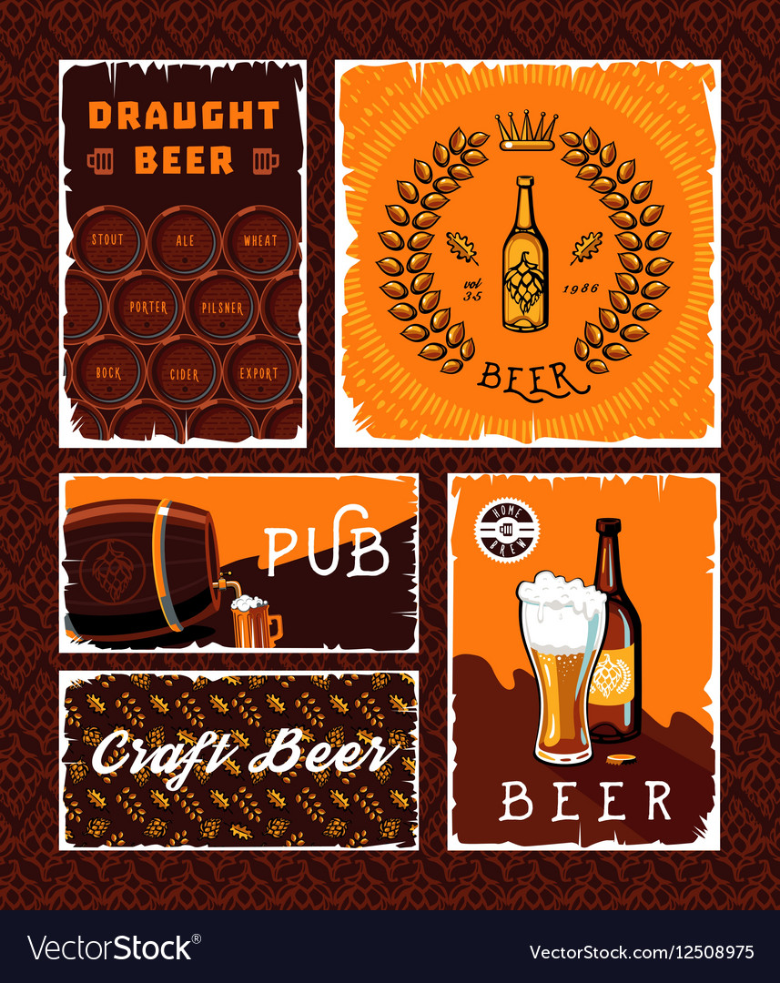 vintage craft beer banner set royalty free vector image