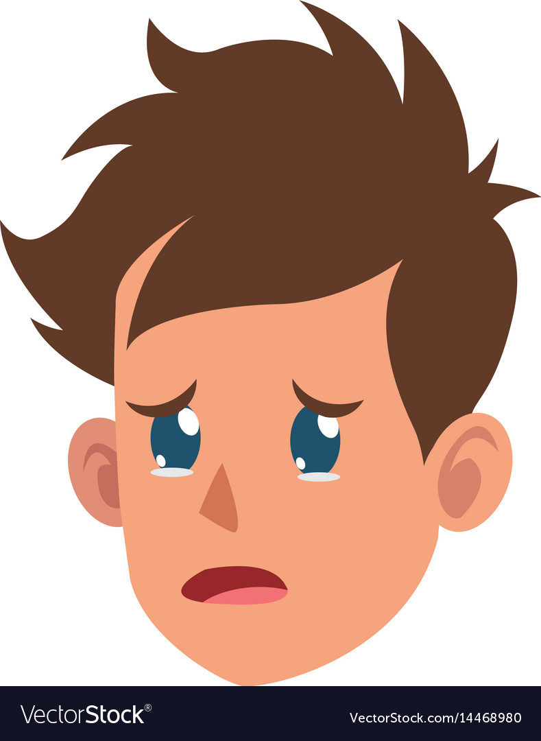 Character face head boy crying