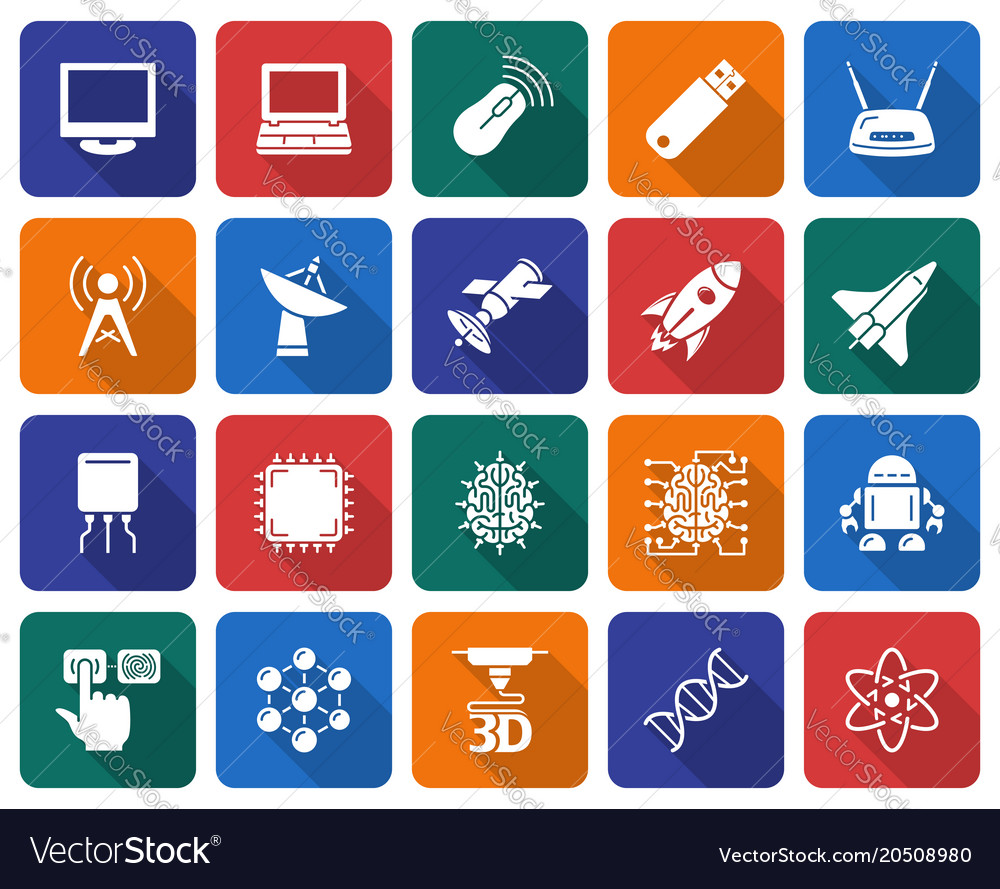Collection of rounded square icons high technology