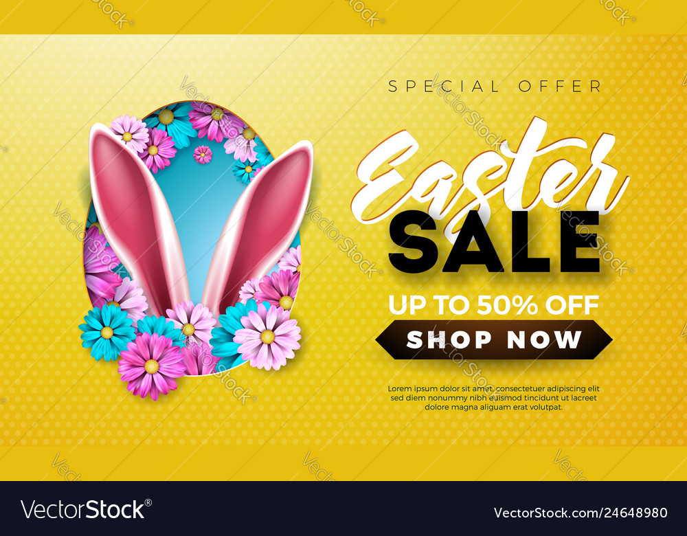 Easter sale with spring flower and