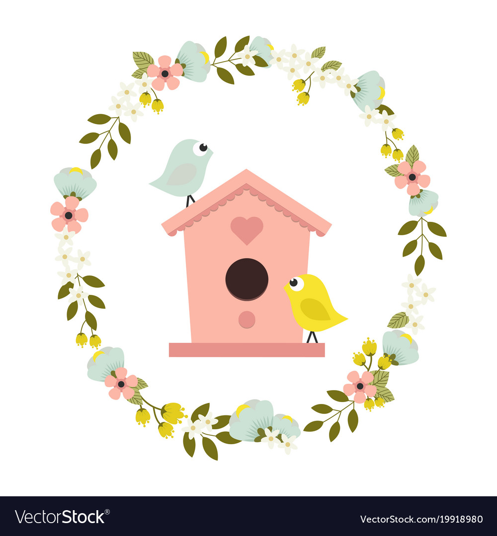 Flower wreath with birdhouse