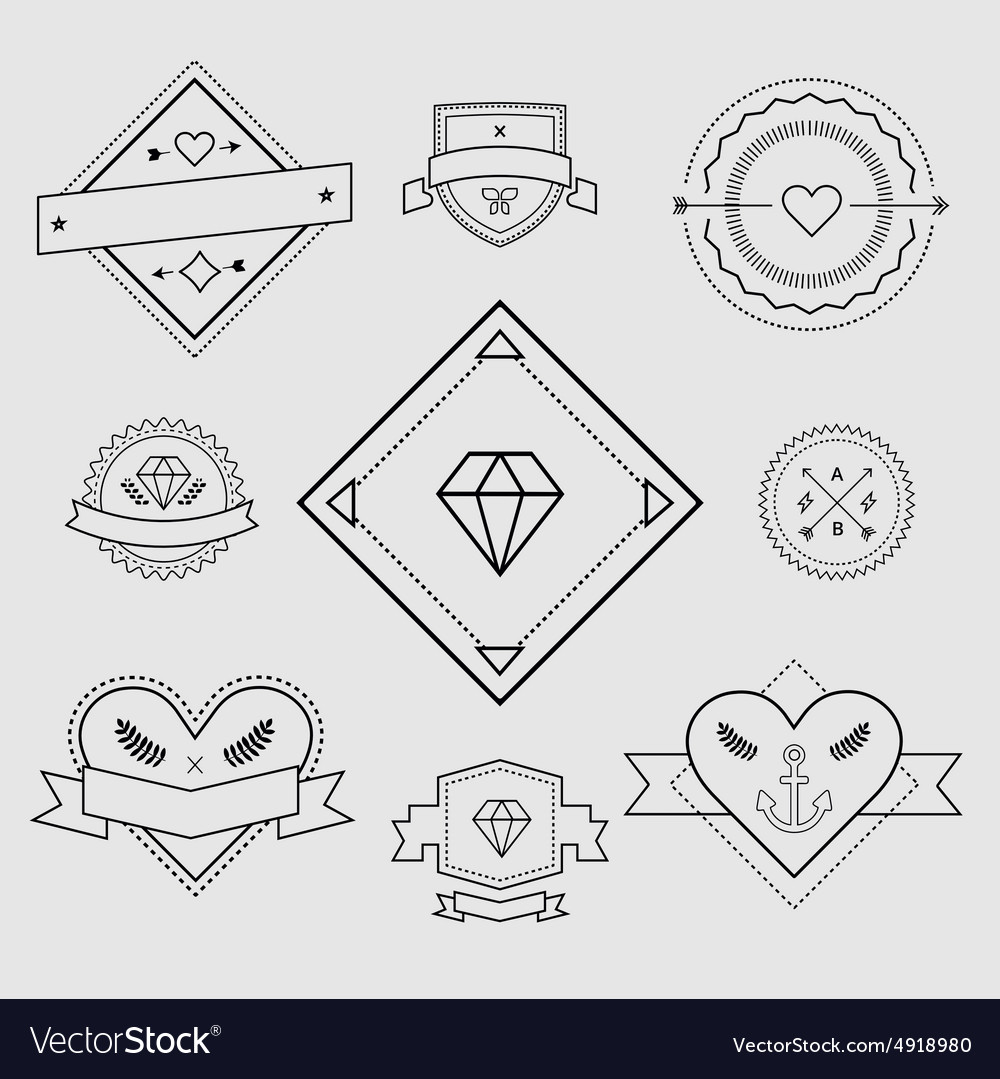 Logo design elements Vintage retro style Arrows