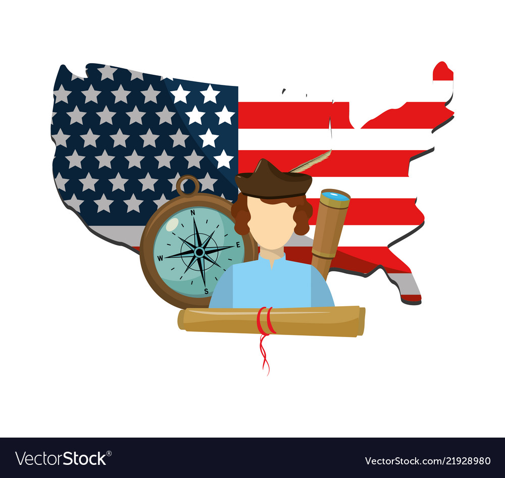 Man In The United States Map.Man With Usa Flag Map And Navigate Tools Vector Image