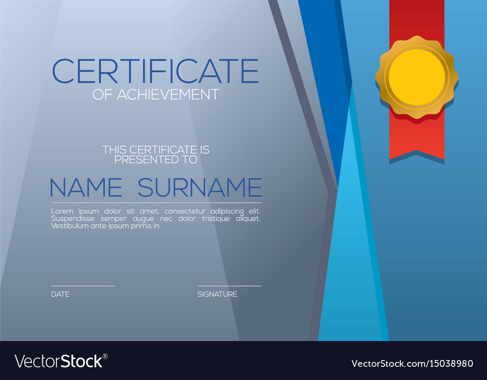 Modern style blank blue certified template vector image