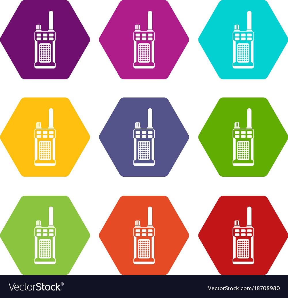 Portable handheld radio icon set color hexahedron