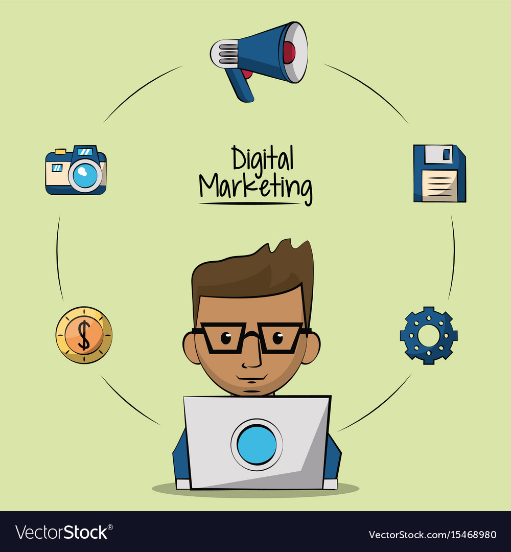 Poster of digital marketing with designer man in