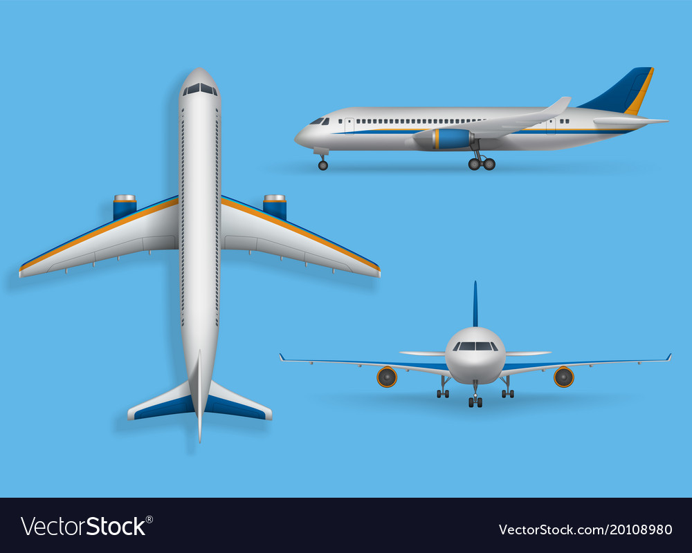 Realistic passenger airplane mock up airliner in vector image