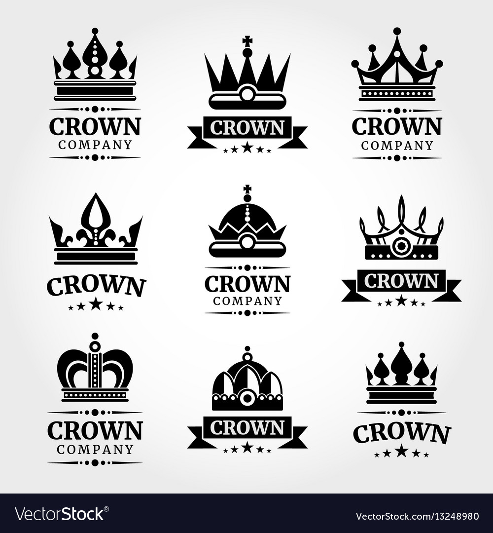 Royal crown logo templates set in black and