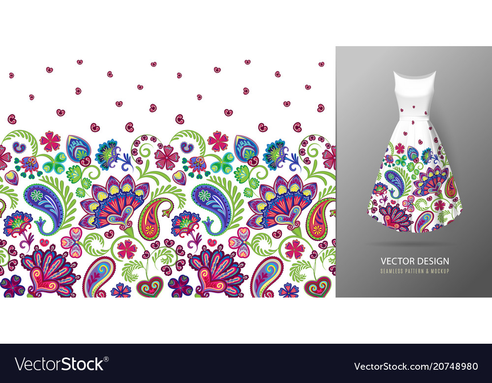 Seamless vertical fantasy flowers pattern hand