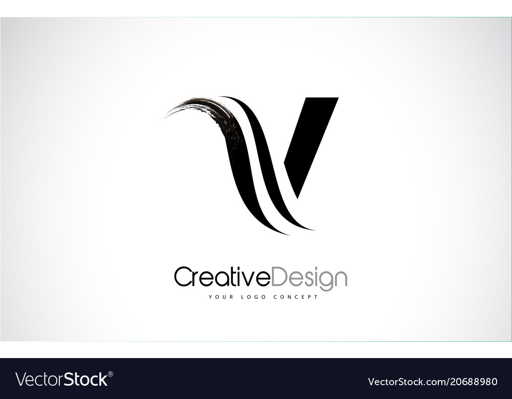 V letter design brush paint stroke Royalty Free Vector Image