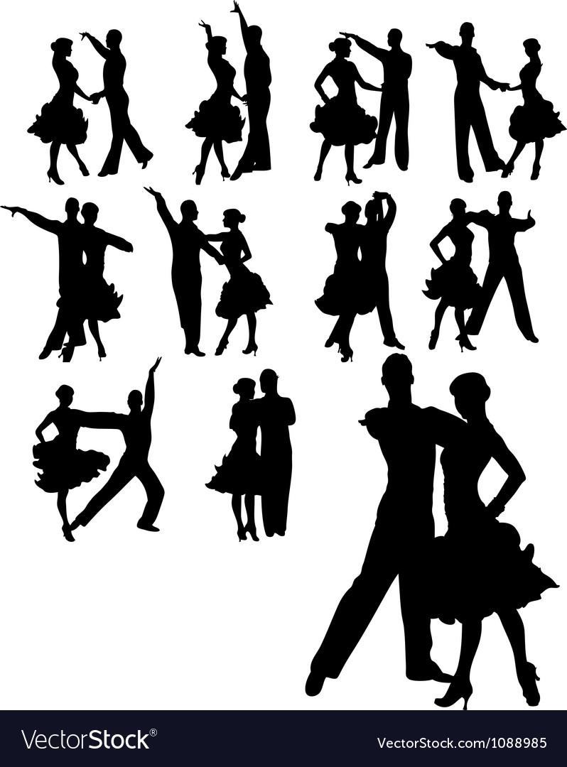 Couple dancing set vector image