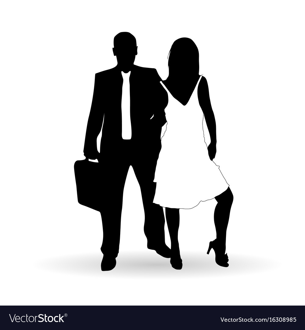 Couple silhouette in black and white color vector image