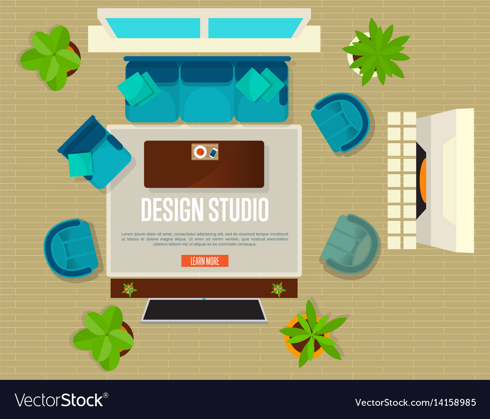Design studio concept with top view apartment