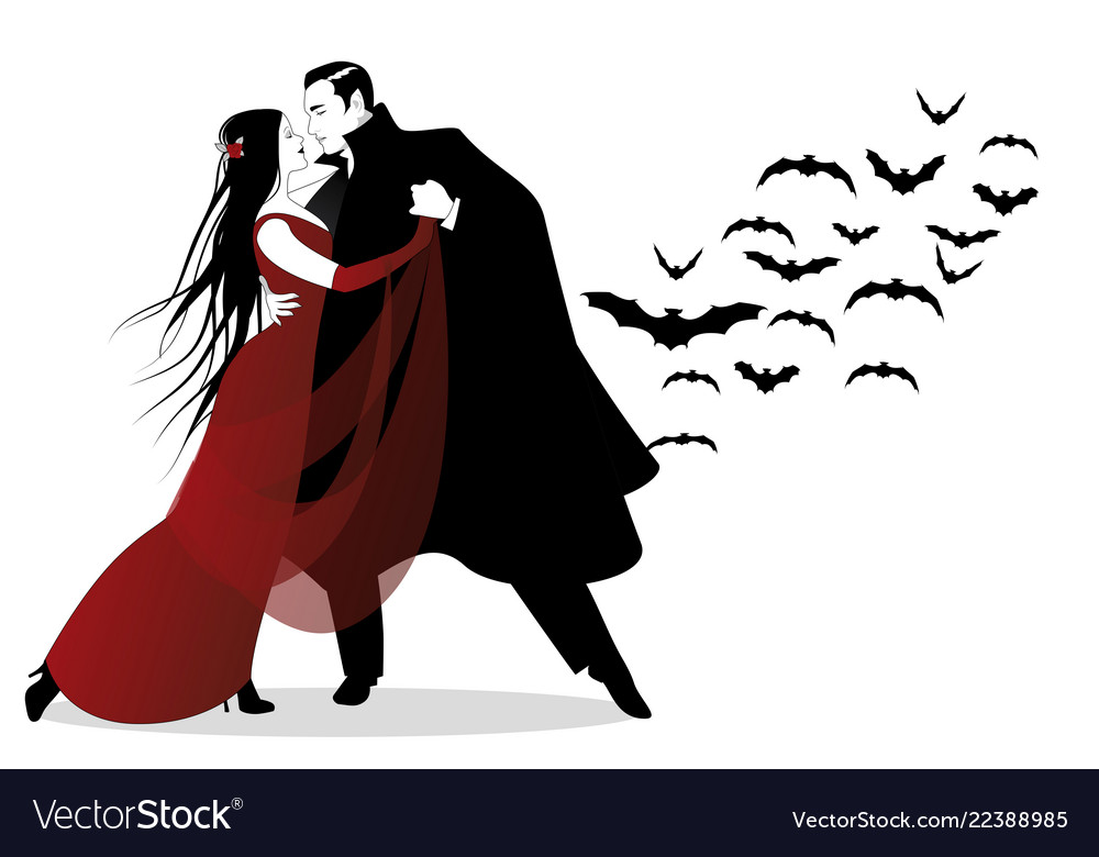 Halloween dance party romantic vampire couple