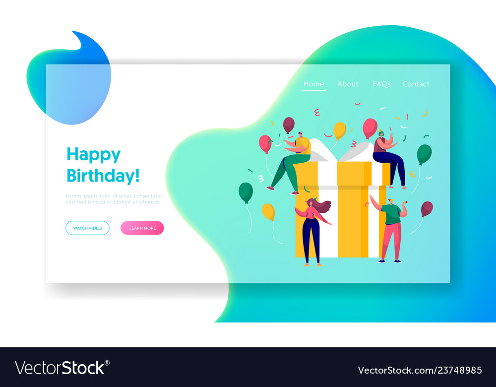 Happy birthday party celebration landing page