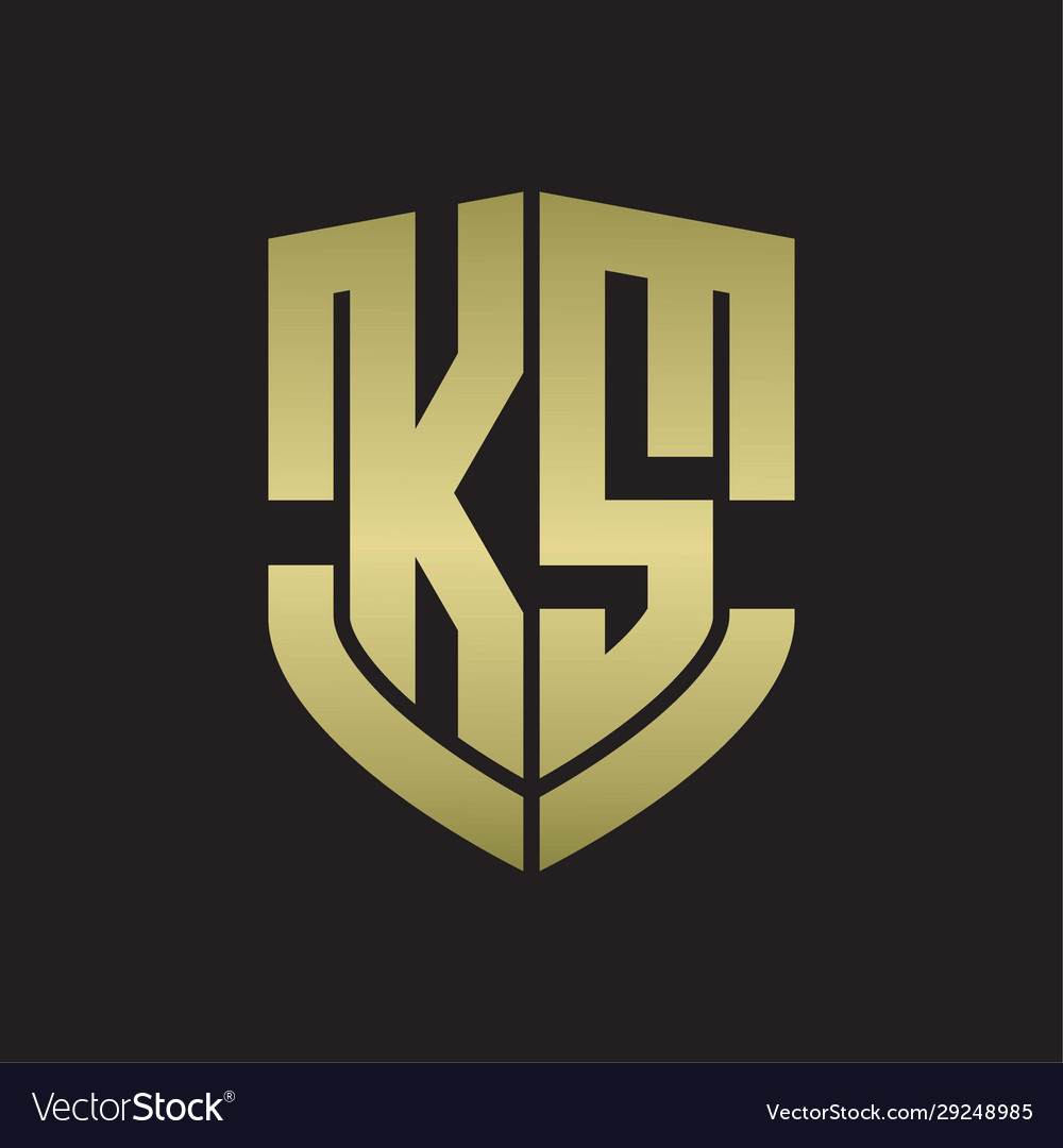 Ks Logo Monogram With Emblem Shield Shape Design Vector Image