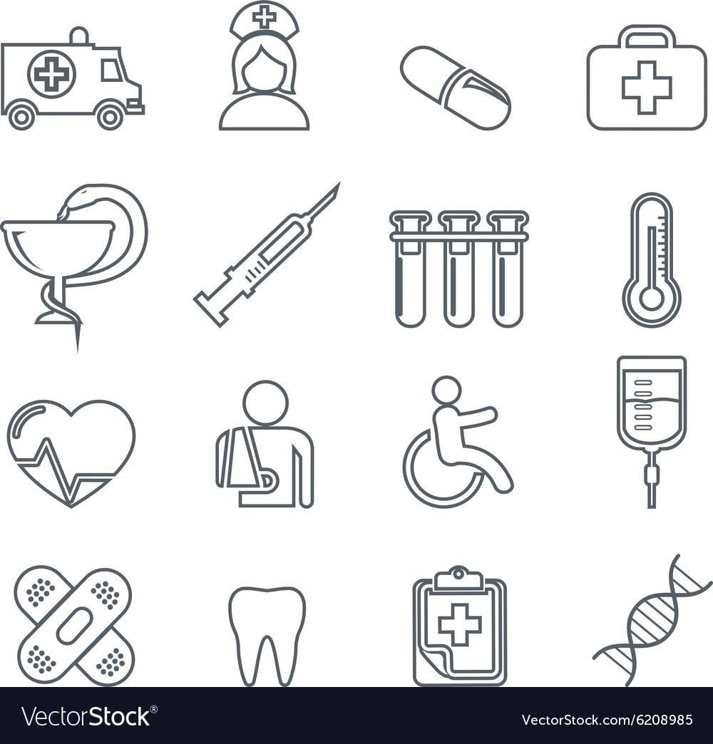 Medical Icons thin line icons set