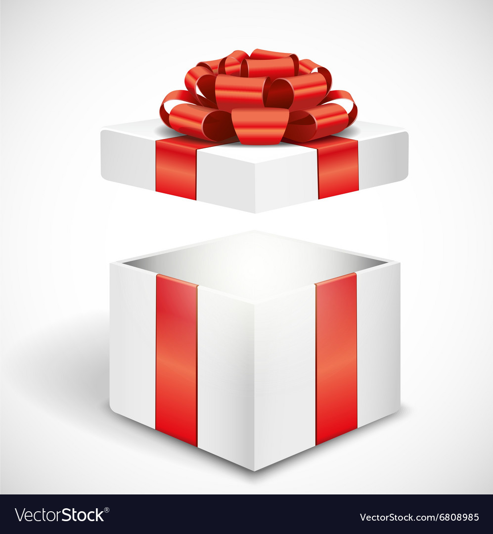 Open white gift box