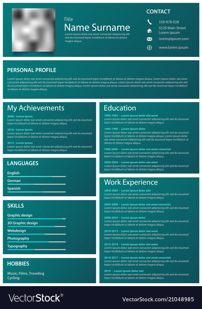 Professional personal resume cv with blue frames Vector Image