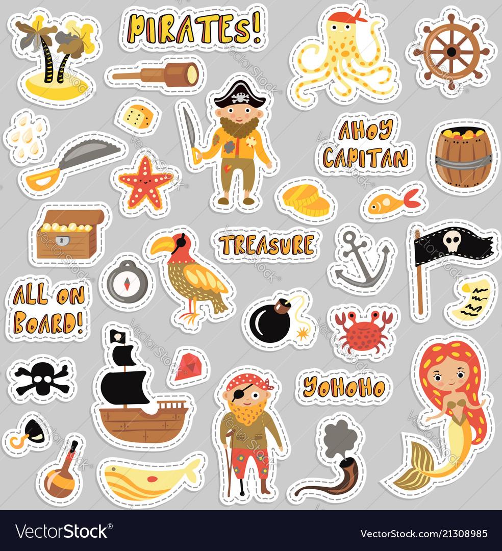 Set pirates cartoon stickers adventures