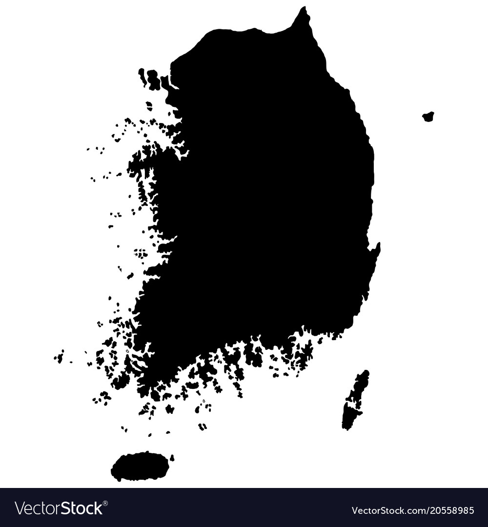 south korea map vector South Korea Map Silhouette Isolated On Royalty Free Vector