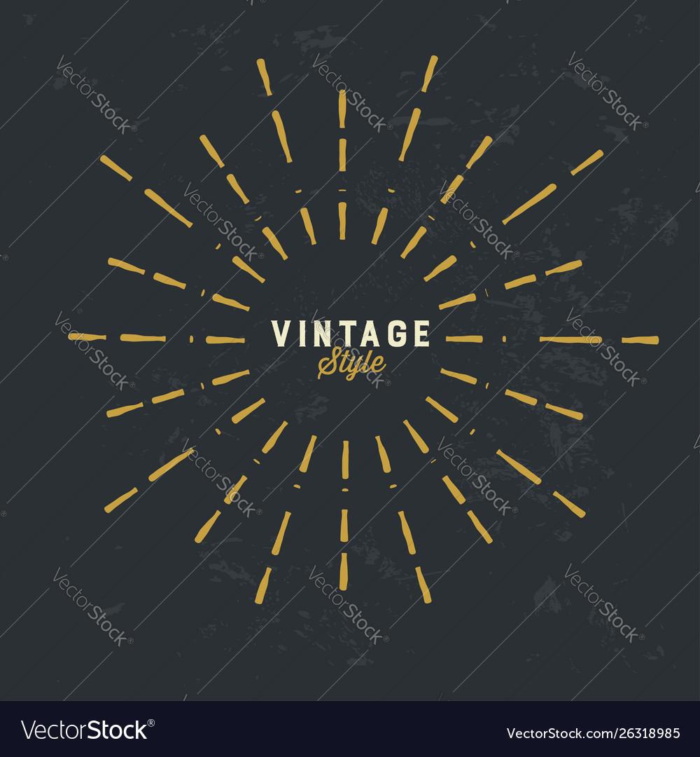 Vintage gold sunburst design element on grunge