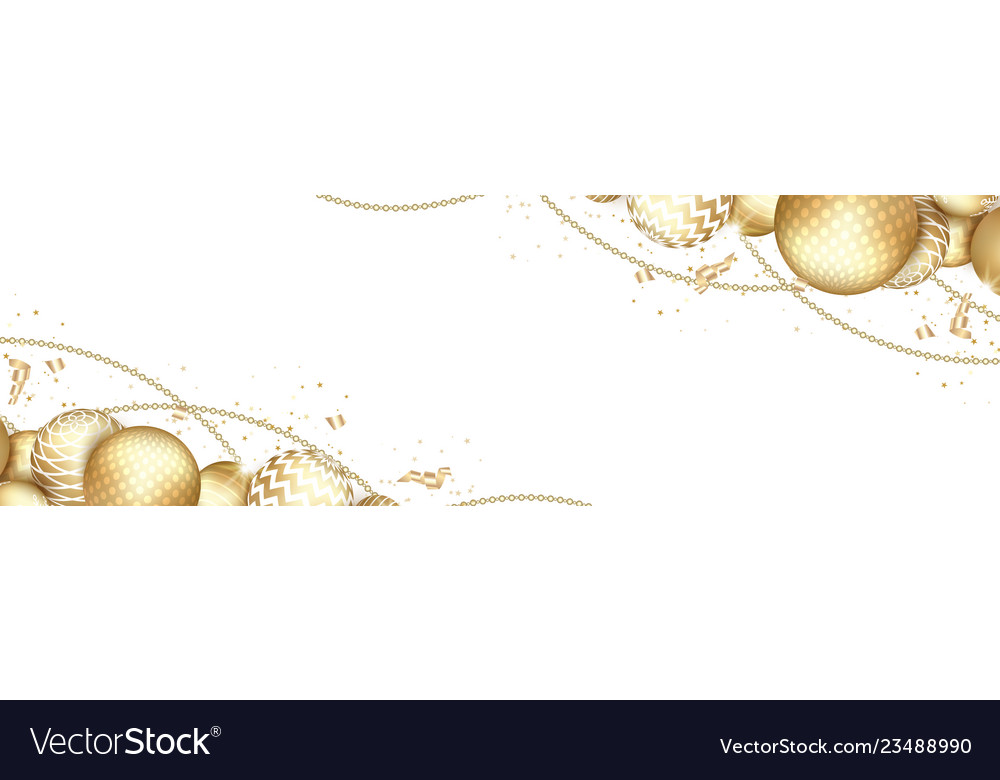 Banner with christmas gold balls and space