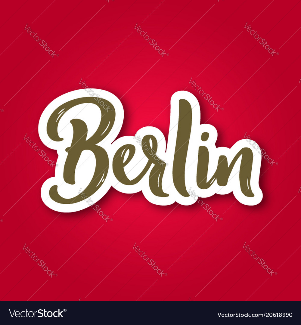 Berlin - hand drawn lettering phrase sticker with