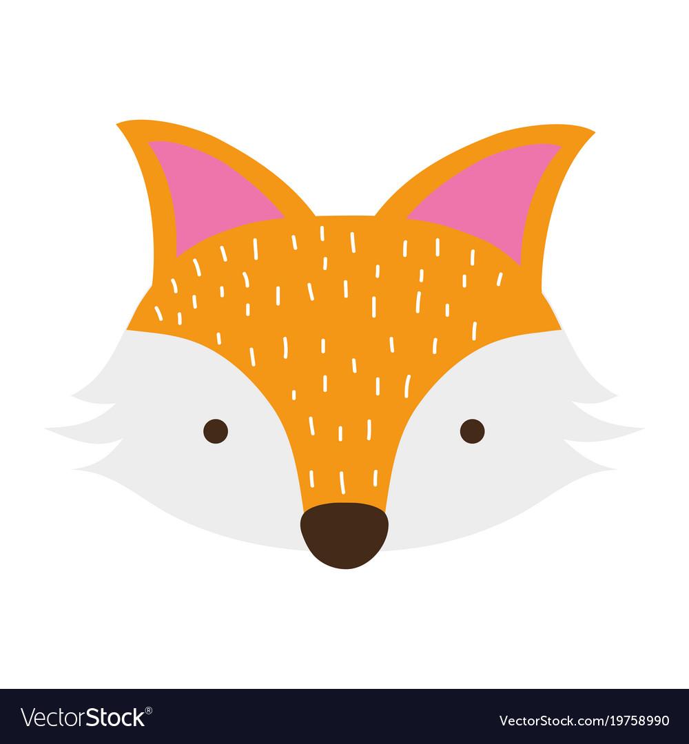 Colorful Cute Fox Head Wild Animal Royalty Free Vector Image