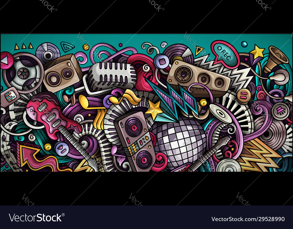 Disco music hand drawn doodle banner cartoon