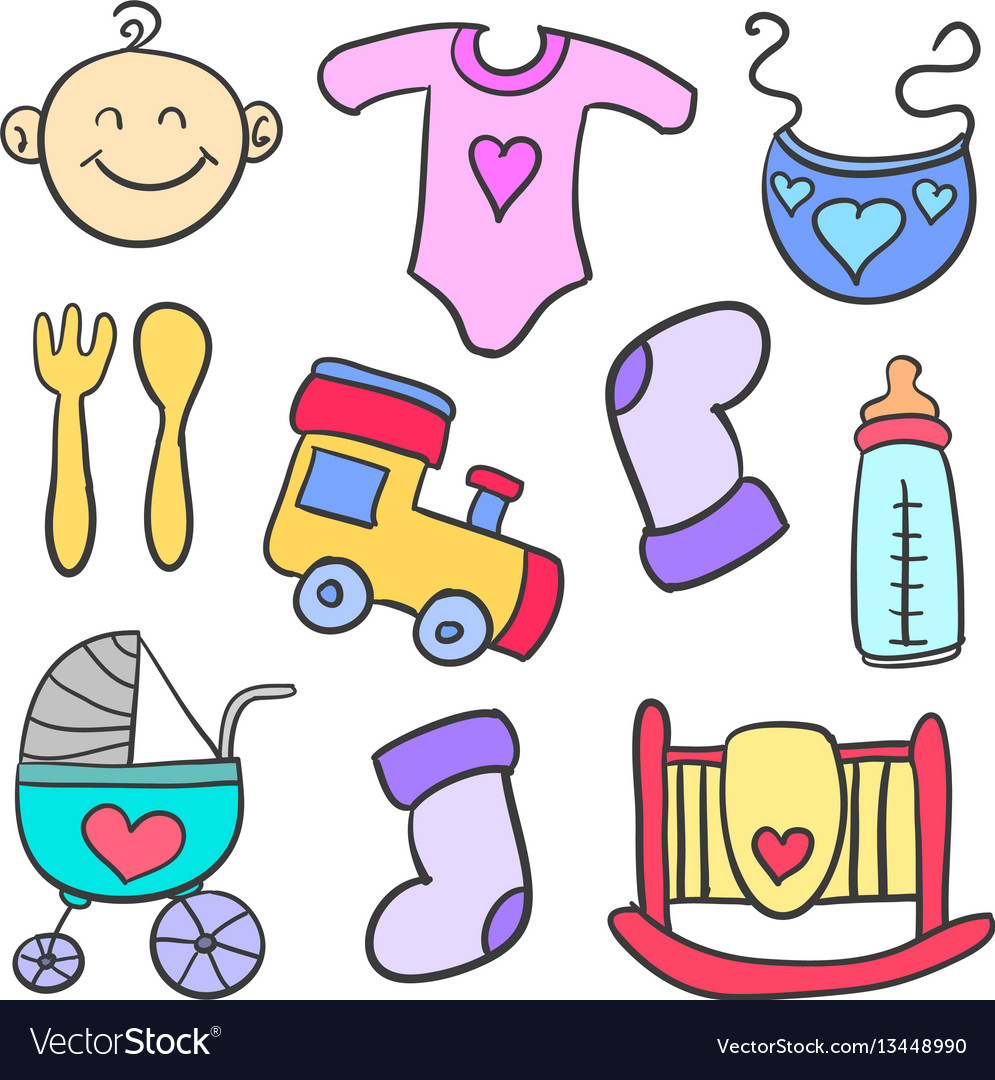 Doodle of element toys for baby